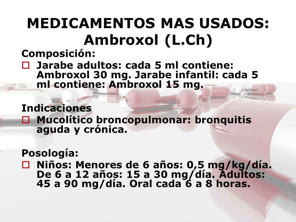 MEDICAMENTOS MAS USADOS: Ambroxol (L.Ch)