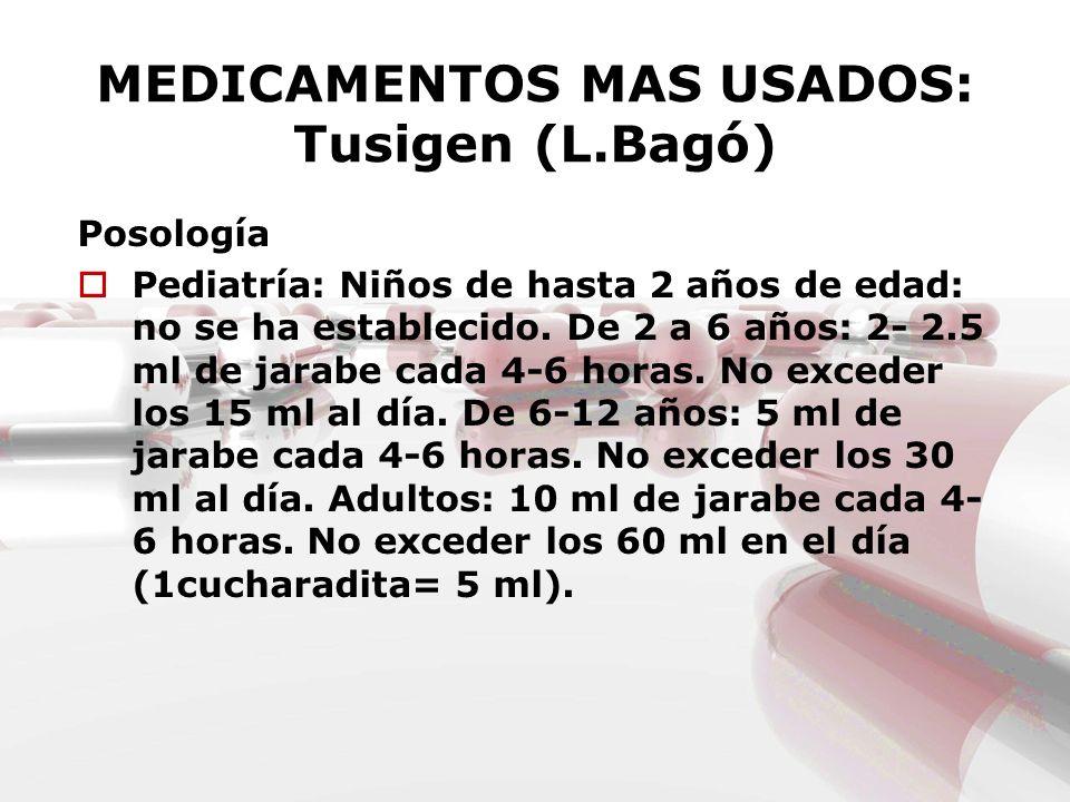 MEDICAMENTOS MAS USADOS: Tusigen (L.Bagó)
