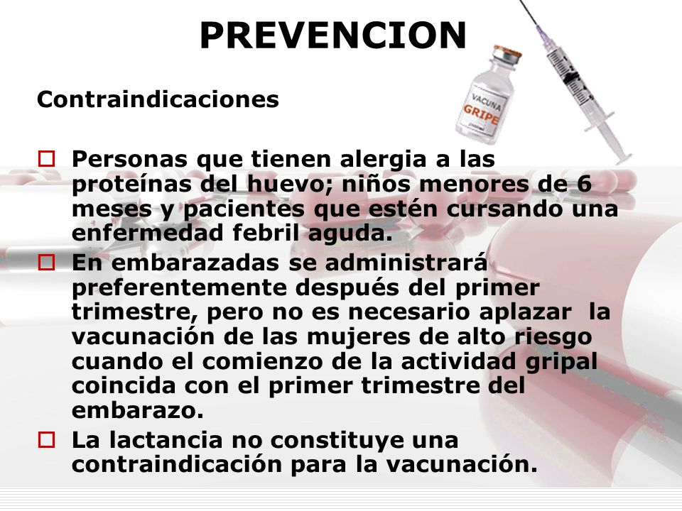 PREVENCION Contraindicaciones