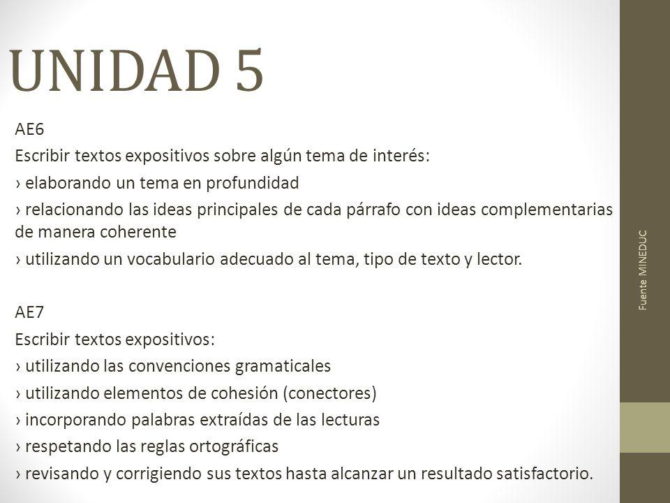 UNIDAD 5 AE6 Escribir textos expositivos sobre algún tema de interés: