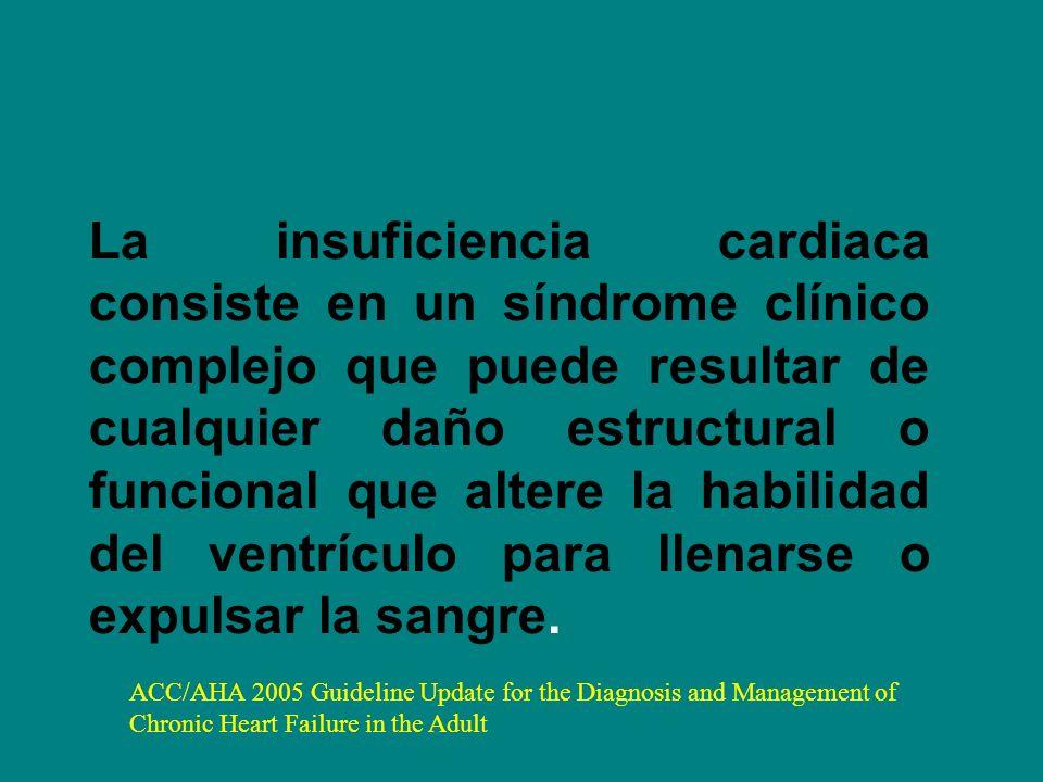 La insuficiencia cardiaca consiste en un síndrome clínico complejo que puede resultar de cualquier daño estructural o funcional que altere la habilidad del ventrículo para llenarse o expulsar la sangre.