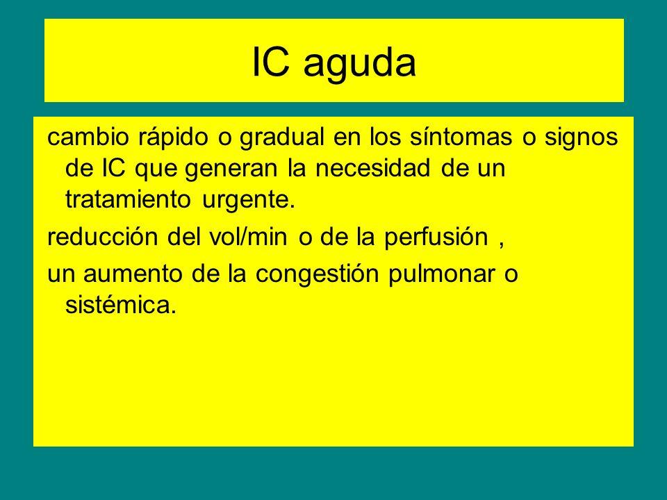 IC aguda cambio rápido o gradual en los síntomas o signos de IC que generan la necesidad de un tratamiento urgente.