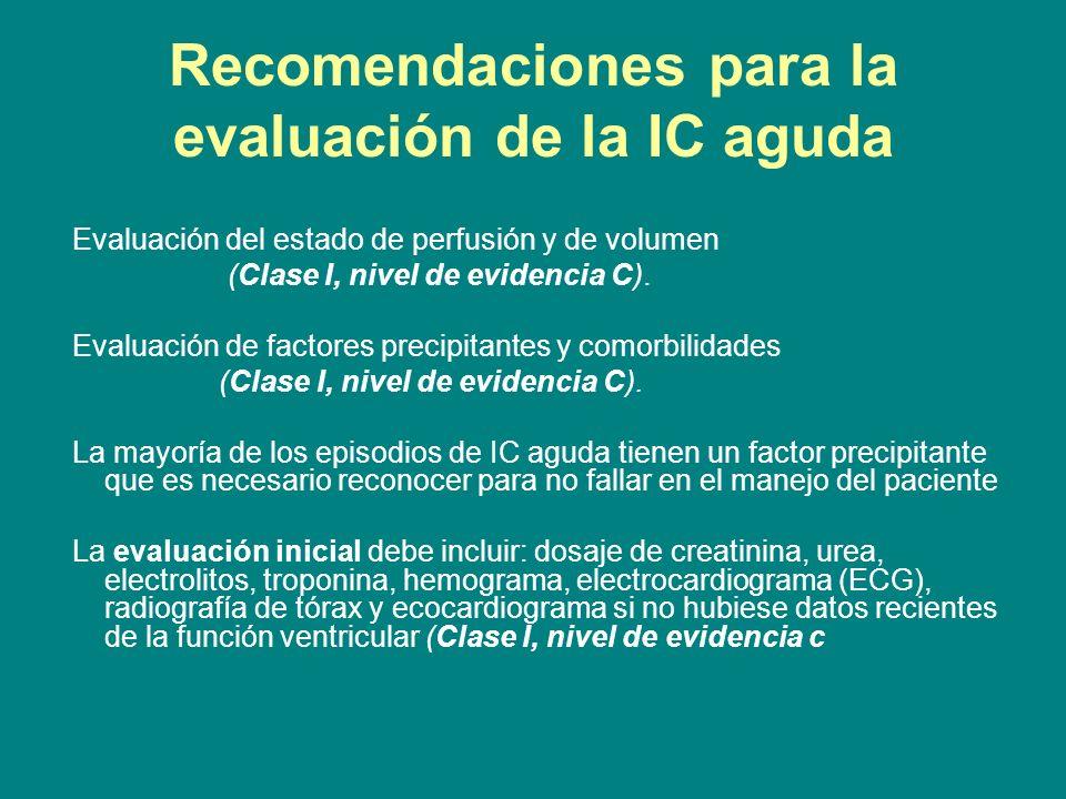 Recomendaciones para la evaluación de la IC aguda