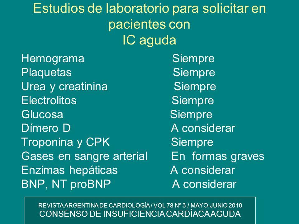 Estudios de laboratorio para solicitar en pacientes con IC aguda