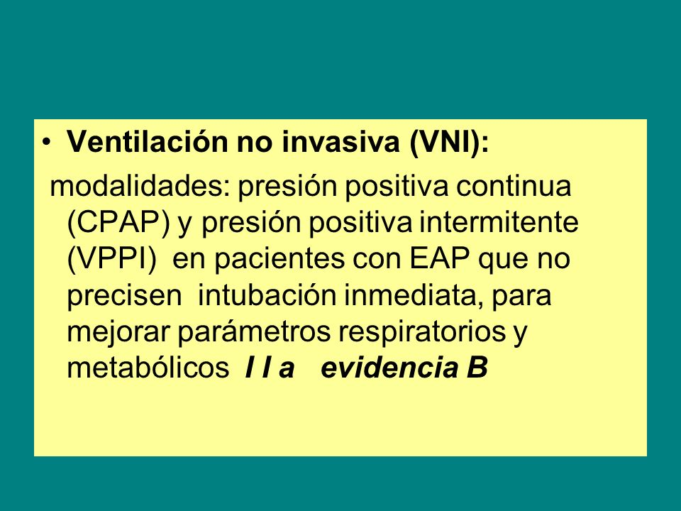 Ventilación no invasiva (VNI):