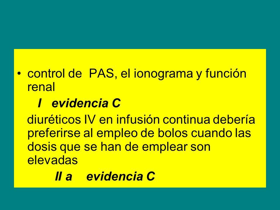 control de PAS, el ionograma y función renal