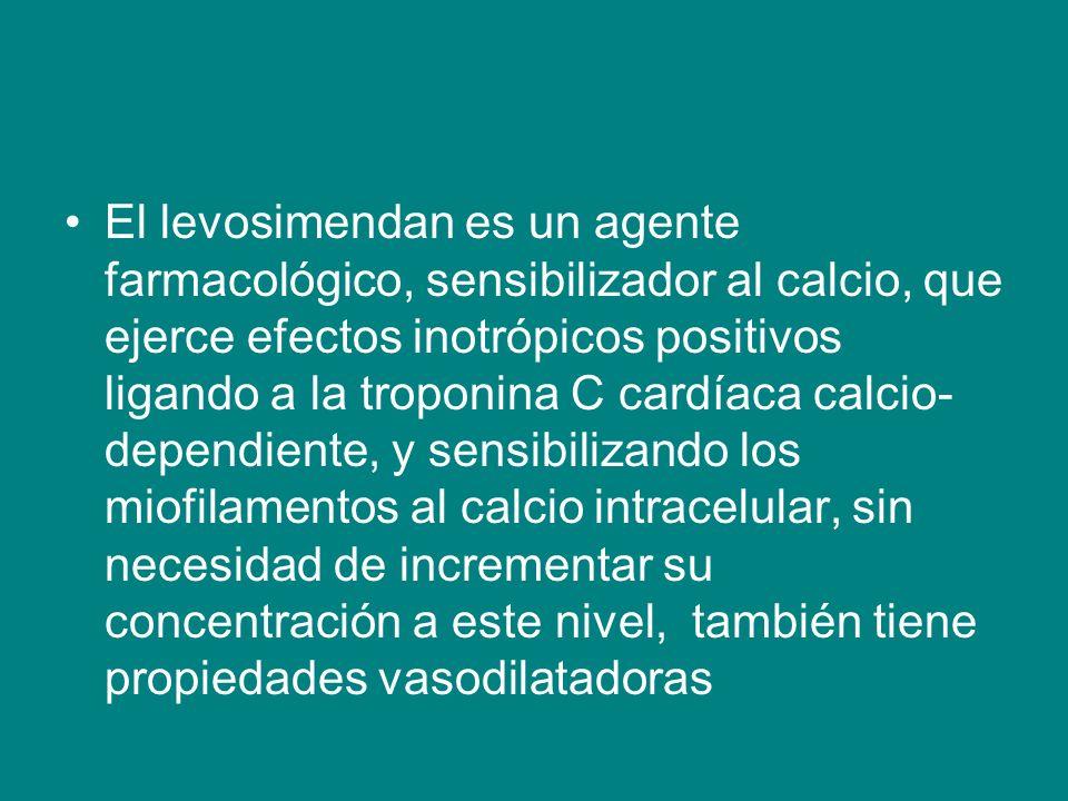 El levosimendan es un agente farmacológico, sensibilizador al calcio, que ejerce efectos inotrópicos positivos ligando a la troponina C cardíaca calcio-dependiente, y sensibilizando los miofilamentos al calcio intracelular, sin necesidad de incrementar su concentración a este nivel, también tiene propiedades vasodilatadoras