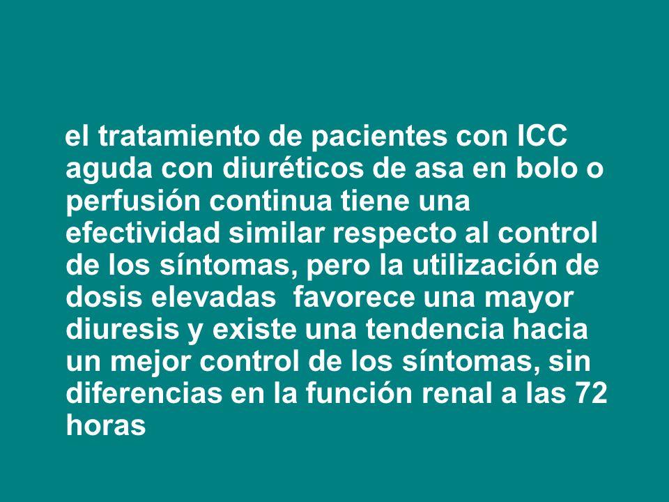 el tratamiento de pacientes con ICC aguda con diuréticos de asa en bolo o perfusión continua tiene una efectividad similar respecto al control de los síntomas, pero la utilización de dosis elevadas favorece una mayor diuresis y existe una tendencia hacia un mejor control de los síntomas, sin diferencias en la función renal a las 72 horas