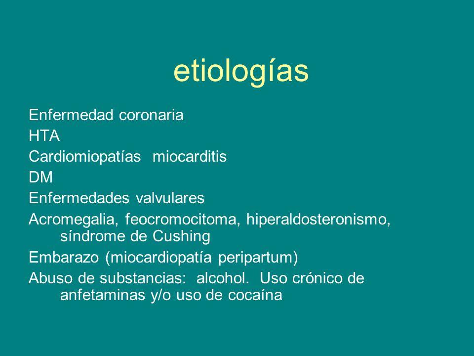 etiologías Enfermedad coronaria HTA Cardiomiopatías miocarditis DM