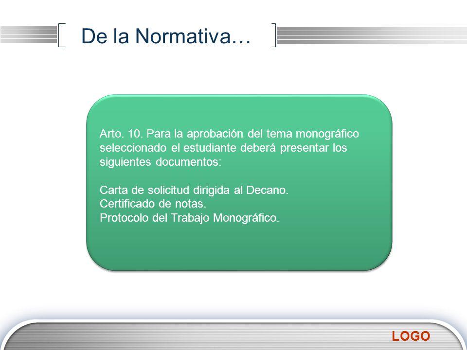 De la Normativa… Arto. 10. Para la aprobación del tema monográfico seleccionado el estudiante deberá presentar los siguientes documentos: