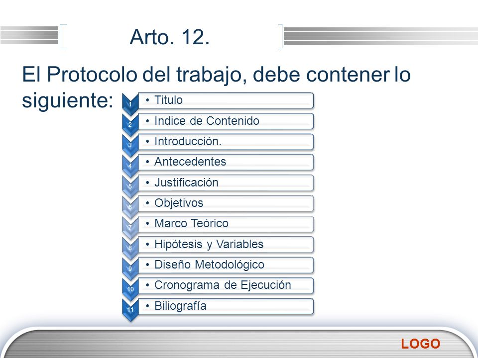 El Protocolo del trabajo, debe contener lo siguiente: