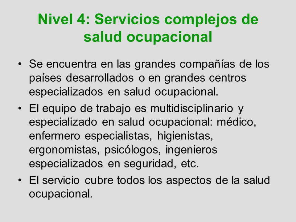 Nivel 4: Servicios complejos de salud ocupacional