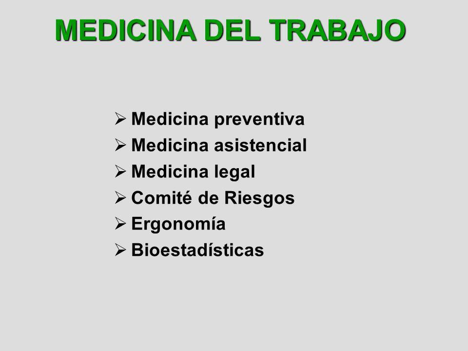 MEDICINA DEL TRABAJO Medicina preventiva Medicina asistencial