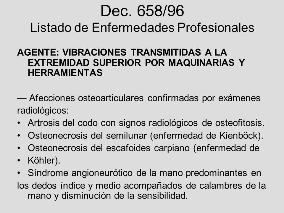 Dec. 658/96 Listado de Enfermedades Profesionales