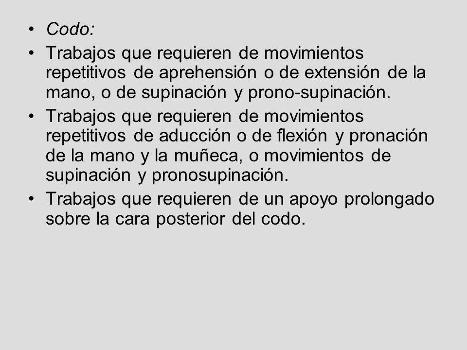 Codo:Trabajos que requieren de movimientos repetitivos de aprehensión o de extensión de la mano, o de supinación y prono-supinación.