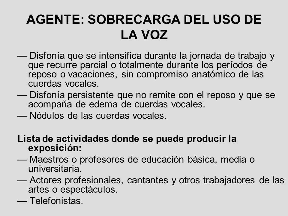 AGENTE: SOBRECARGA DEL USO DE LA VOZ