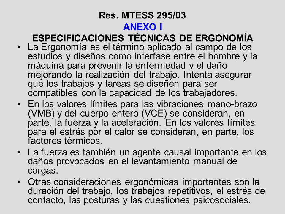 Res. MTESS 295/03 ANEXO I ESPECIFICACIONES TÉCNICAS DE ERGONOMÍA