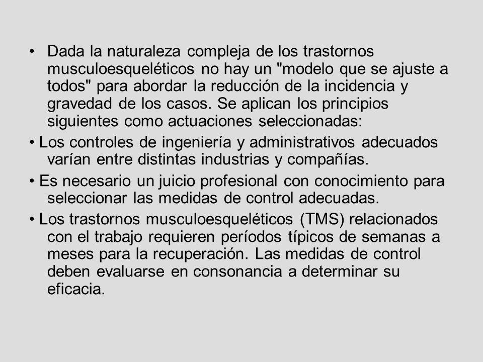 Dada la naturaleza compleja de los trastornos musculoesqueléticos no hay un modelo que se ajuste a todos para abordar la reducción de la incidencia y gravedad de los casos. Se aplican los principios siguientes como actuaciones seleccionadas: