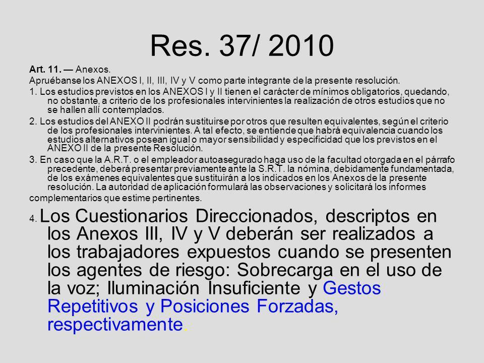 Res. 37/ 2010Art. 11. — Anexos. Apruébanse los ANEXOS I, II, III, IV y V como parte integrante de la presente resolución.