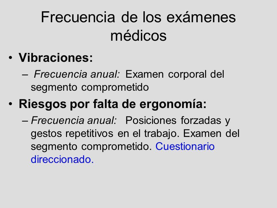 Frecuencia de los exámenes médicos