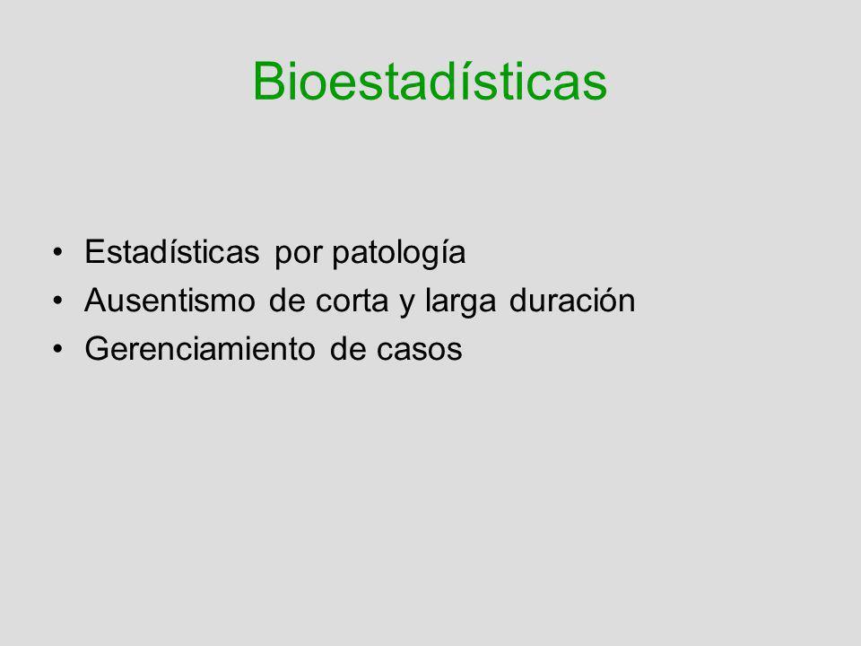 Bioestadísticas Estadísticas por patología
