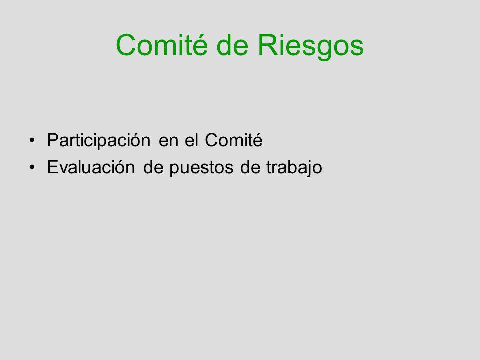 Comité de Riesgos Participación en el Comité