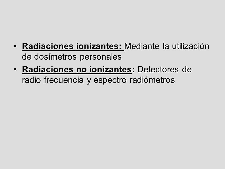 Radiaciones ionizantes: Mediante la utilización de dosímetros personales