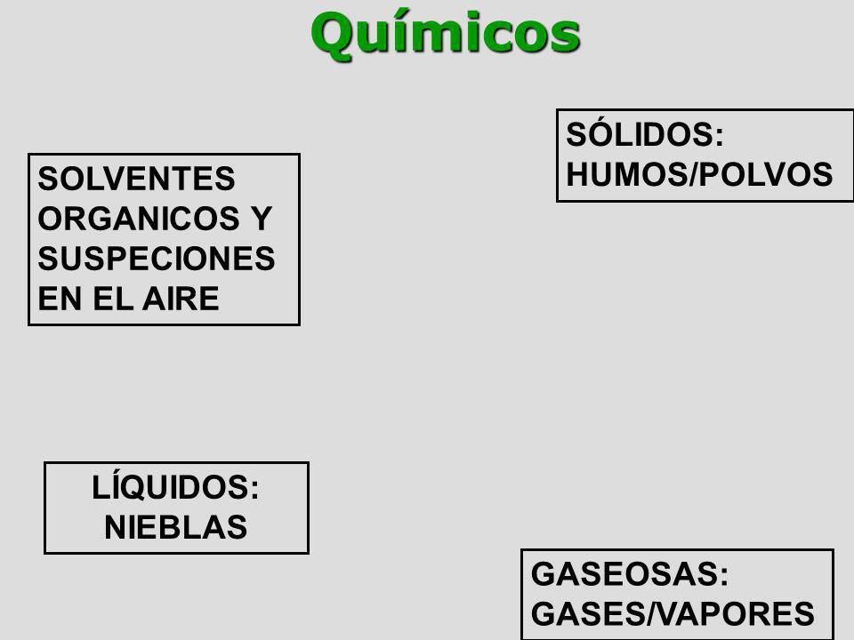 Químicos SÓLIDOS: HUMOS/POLVOS SOLVENTES