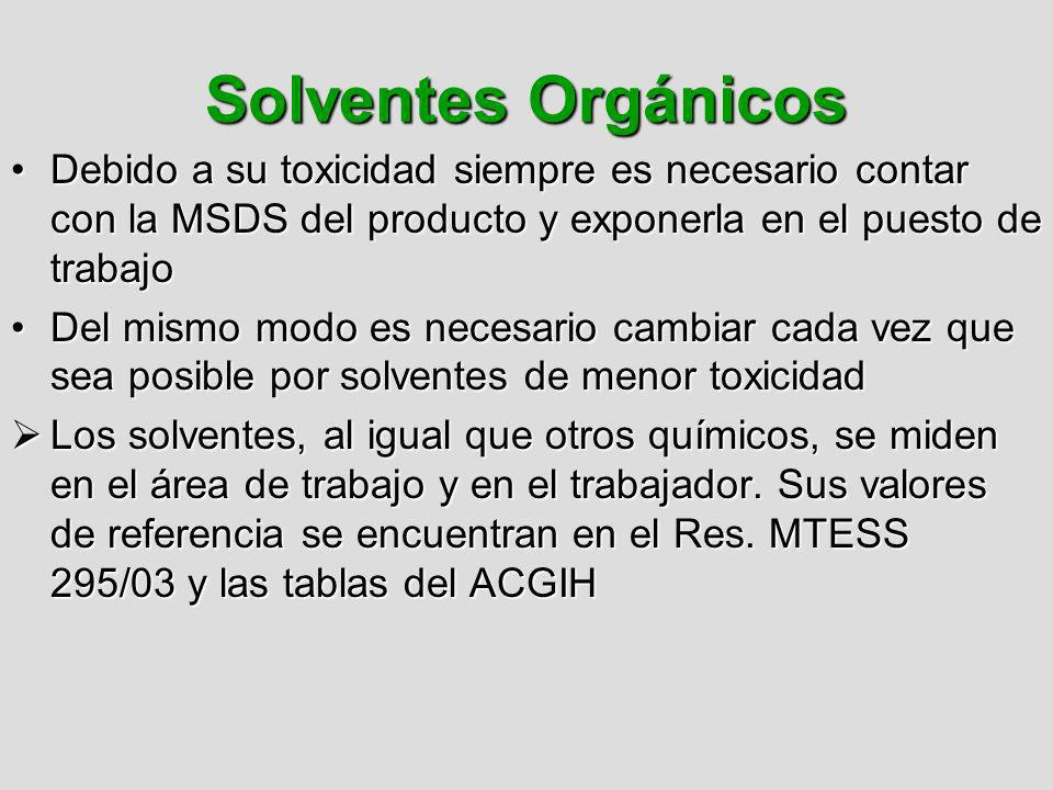 Solventes Orgánicos Debido a su toxicidad siempre es necesario contar con la MSDS del producto y exponerla en el puesto de trabajo.