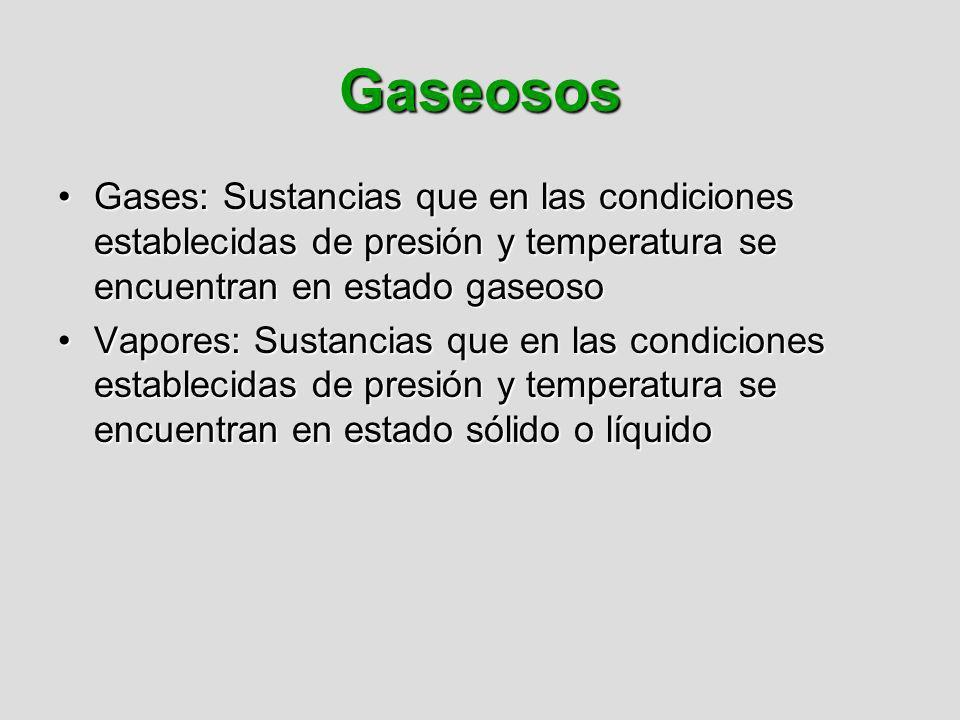 Gaseosos Gases: Sustancias que en las condiciones establecidas de presión y temperatura se encuentran en estado gaseoso.
