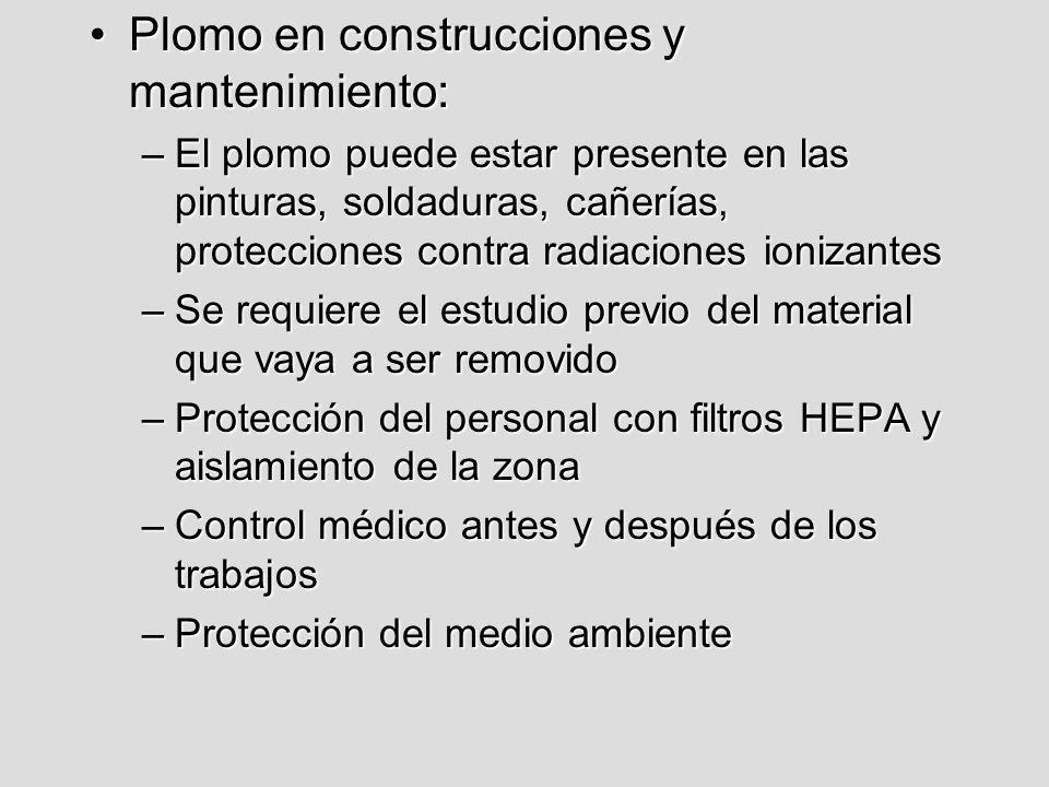 Plomo en construcciones y mantenimiento: