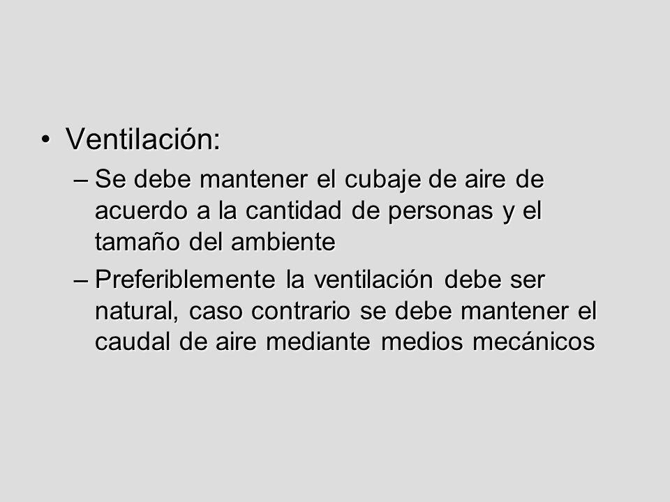 Ventilación: Se debe mantener el cubaje de aire de acuerdo a la cantidad de personas y el tamaño del ambiente.