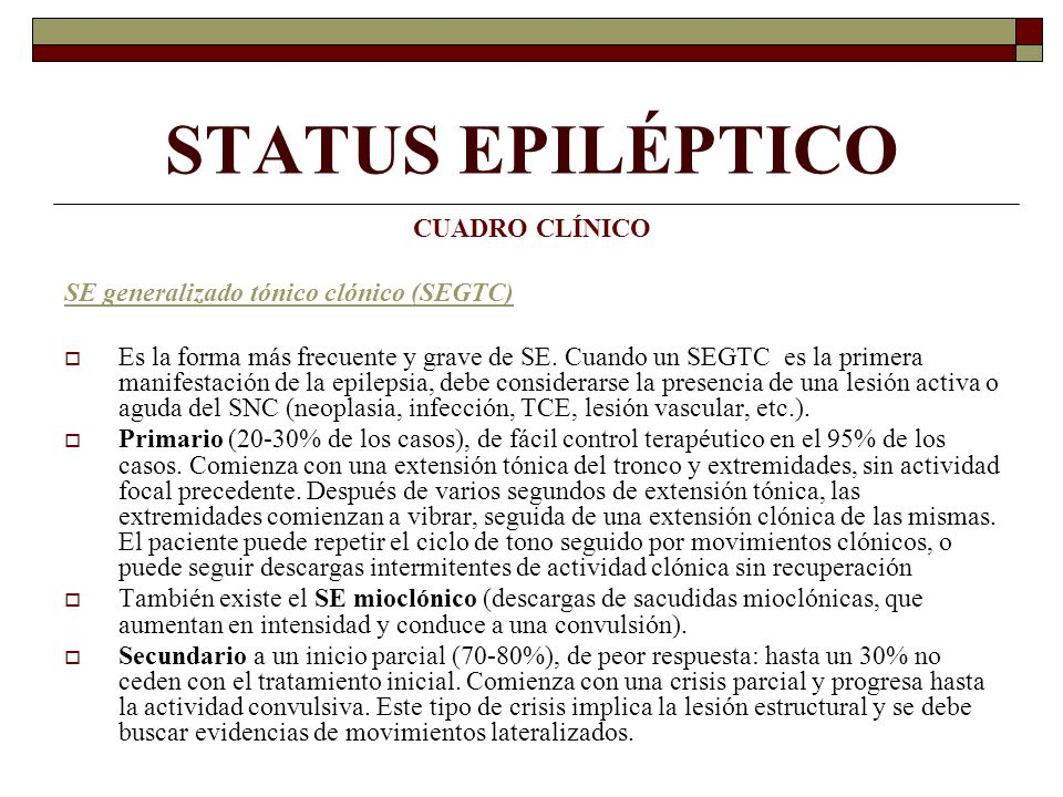 STATUS EPILÉPTICO CUADRO CLÍNICO