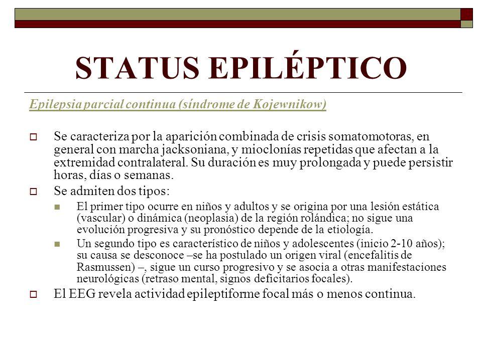 STATUS EPILÉPTICO Epilepsia parcial continua (síndrome de Kojewnikow)
