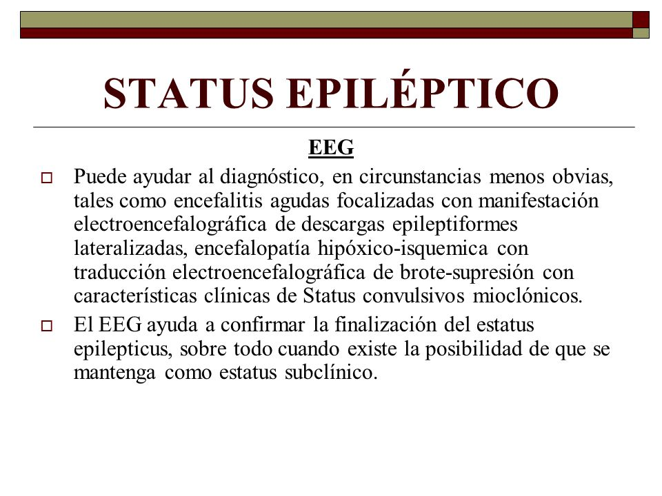 STATUS EPILÉPTICO EEG.