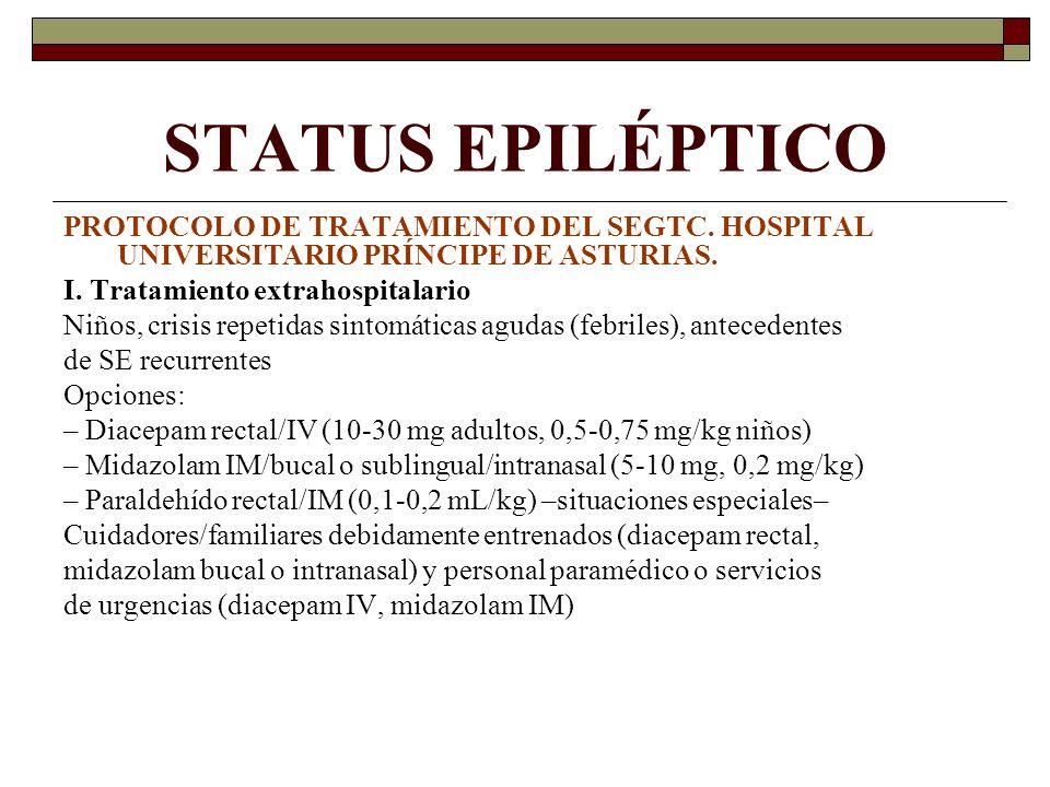 STATUS EPILÉPTICO PROTOCOLO DE TRATAMIENTO DEL SEGTC. HOSPITAL UNIVERSITARIO PRÍNCIPE DE ASTURIAS. I. Tratamiento extrahospitalario.