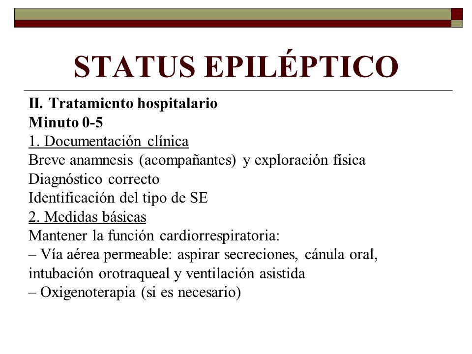 STATUS EPILÉPTICO II. Tratamiento hospitalario Minuto 0-5