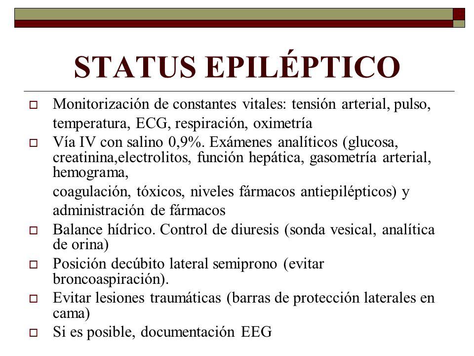 STATUS EPILÉPTICO Monitorización de constantes vitales: tensión arterial, pulso, temperatura, ECG, respiración, oximetría.