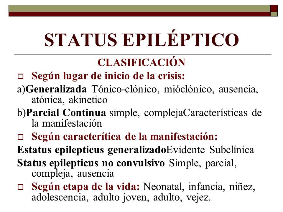 STATUS EPILÉPTICO CLASIFICACIÓN Según lugar de inicio de la crisis: