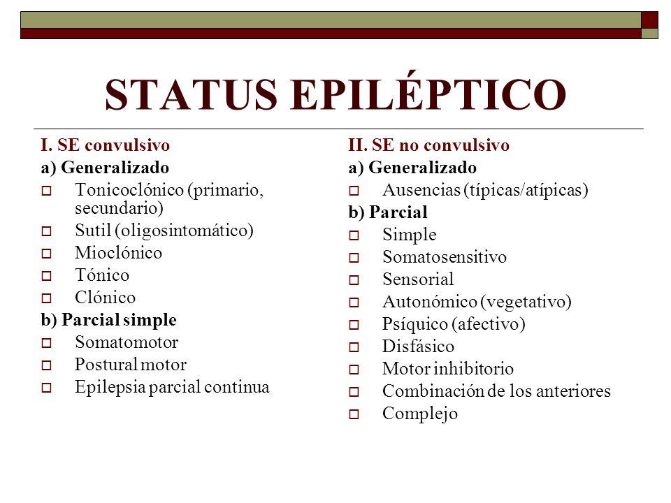 STATUS EPILÉPTICO I. SE convulsivo a) Generalizado