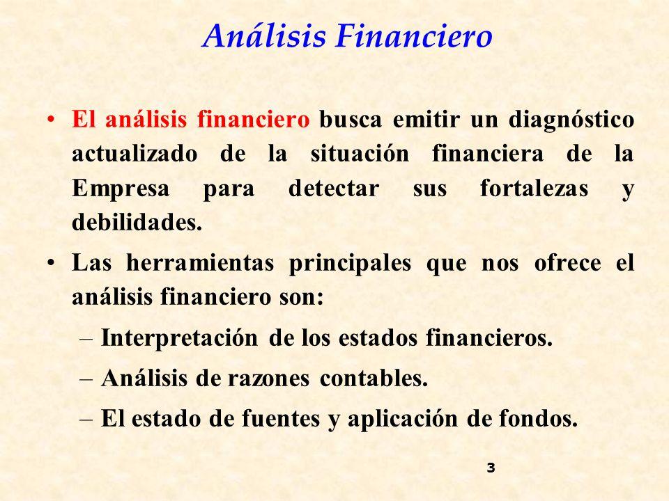 El análisis financiero busca emitir un diagnóstico actualizado de la situación financiera de la Empresa para detectar sus fortalezas y debilidades.