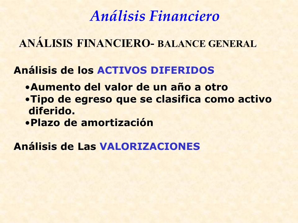 ANÁLISIS FINANCIERO- BALANCE GENERAL