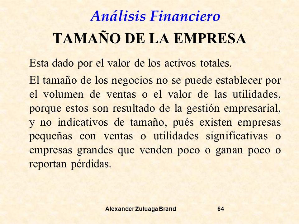 TAMAÑO DE LA EMPRESA Esta dado por el valor de los activos totales.