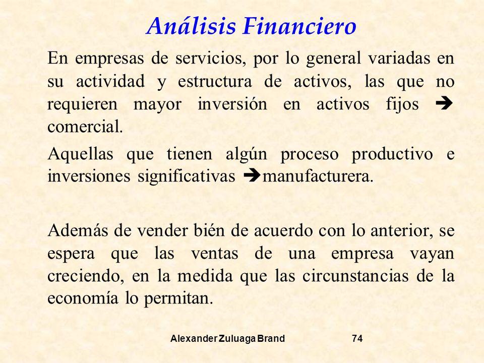 En empresas de servicios, por lo general variadas en su actividad y estructura de activos, las que no requieren mayor inversión en activos fijos  comercial.