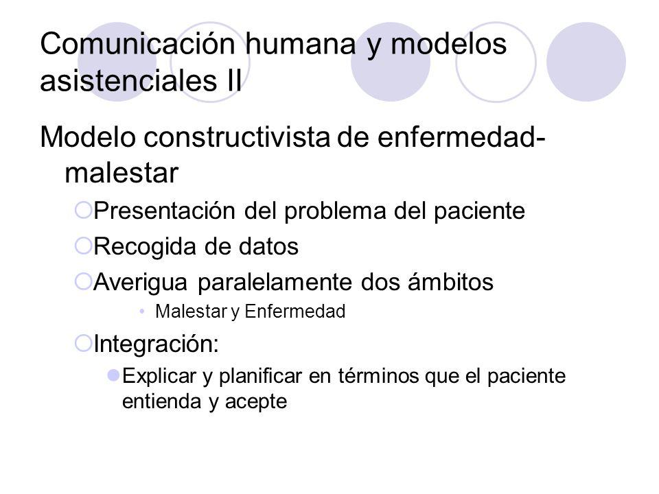 Comunicación humana y modelos asistenciales II