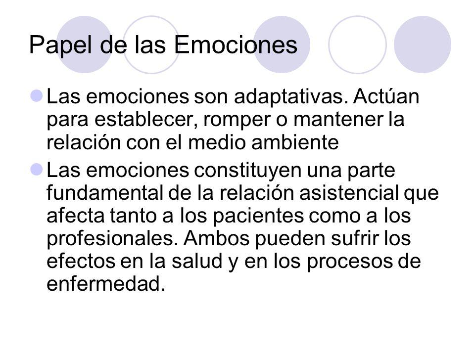 Papel de las Emociones Las emociones son adaptativas. Actúan para establecer, romper o mantener la relación con el medio ambiente.