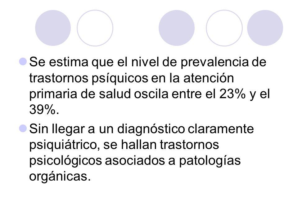 Se estima que el nivel de prevalencia de trastornos psíquicos en la atención primaria de salud oscila entre el 23% y el 39%.
