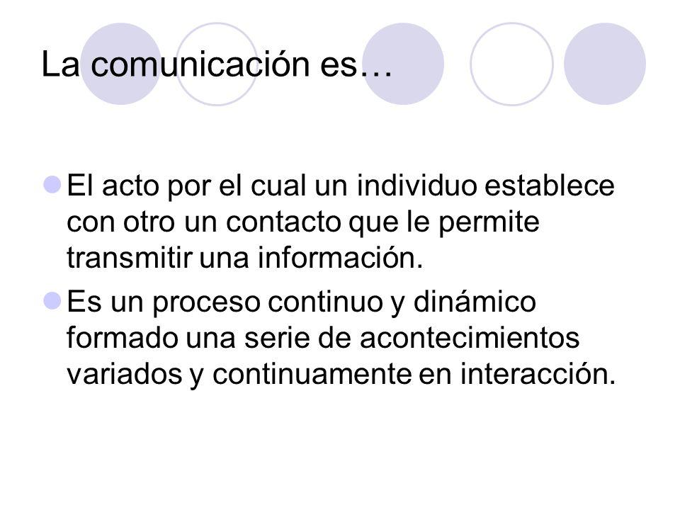 La comunicación es… El acto por el cual un individuo establece con otro un contacto que le permite transmitir una información.