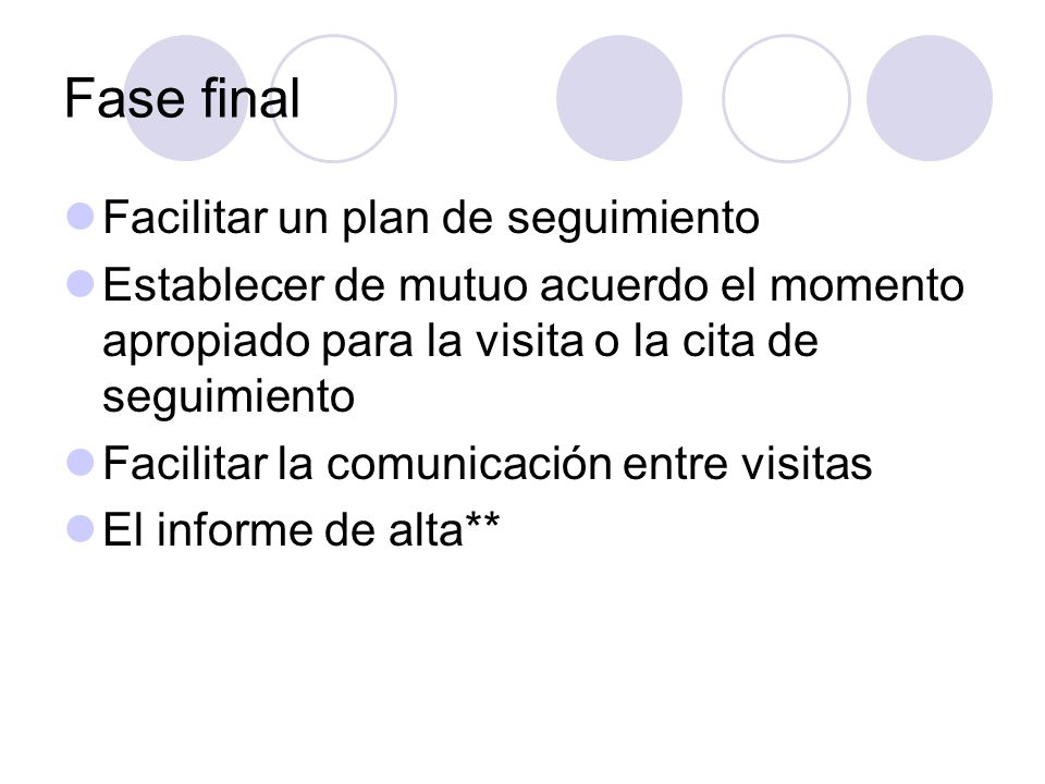 Fase final Facilitar un plan de seguimiento