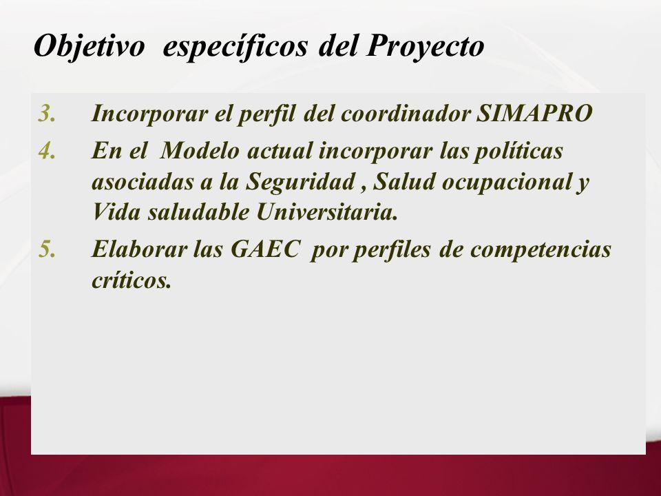 Objetivo específicos del Proyecto